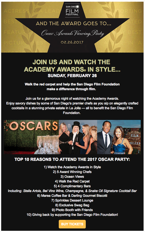 Watch the Oscars with the San Diego International Film Festival